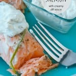 garlic rosemary slamon filet with creamy dill sauce #Salmon #sousvide