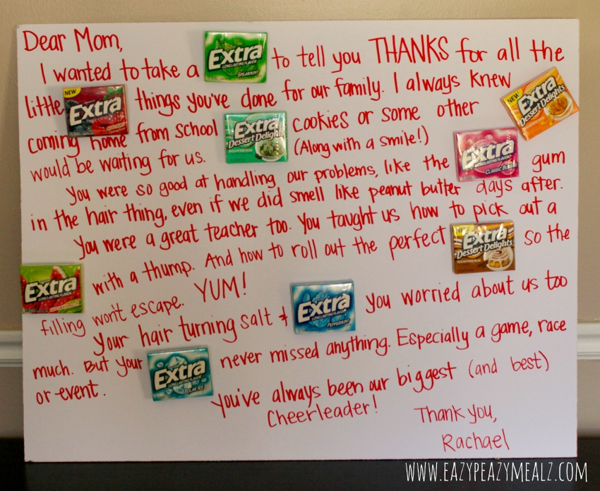 give extra, get extra poster board eazy peazy mealz #ExtraGum #GiveExtra #CandyGram