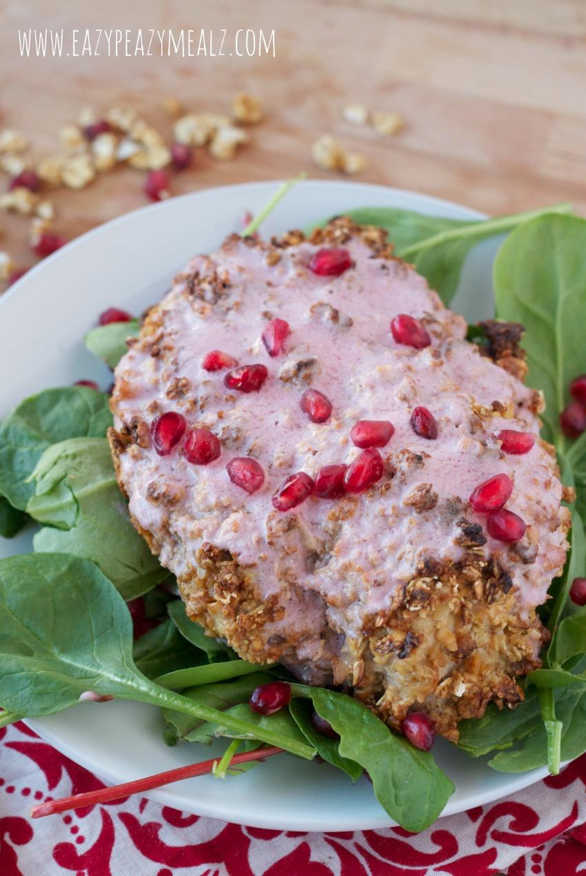 Baked Granola Crusted Raspberry Pomegranate Chicken - Eazy Peazy Mealz