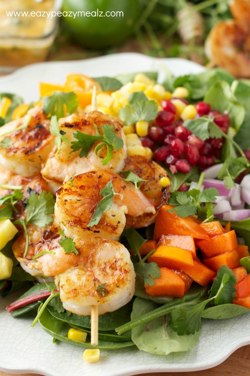 shrimp kabob salad, the perfect summer dinner salad, seafood in a salad