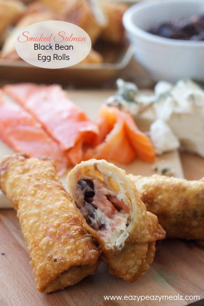 smoked salmon and black bean egg rolls #nasoya