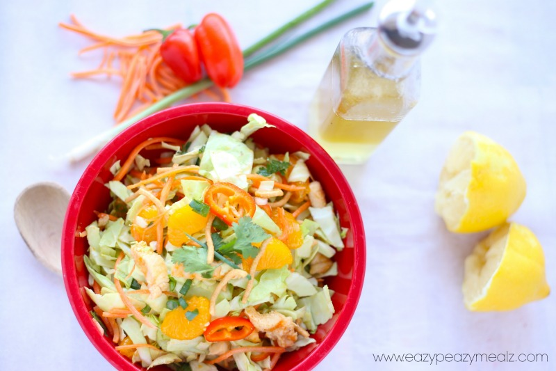 chinese chicken salad with a tangy lemon vinaigrette, healthy and easy dinner recipe, easy salad recipe