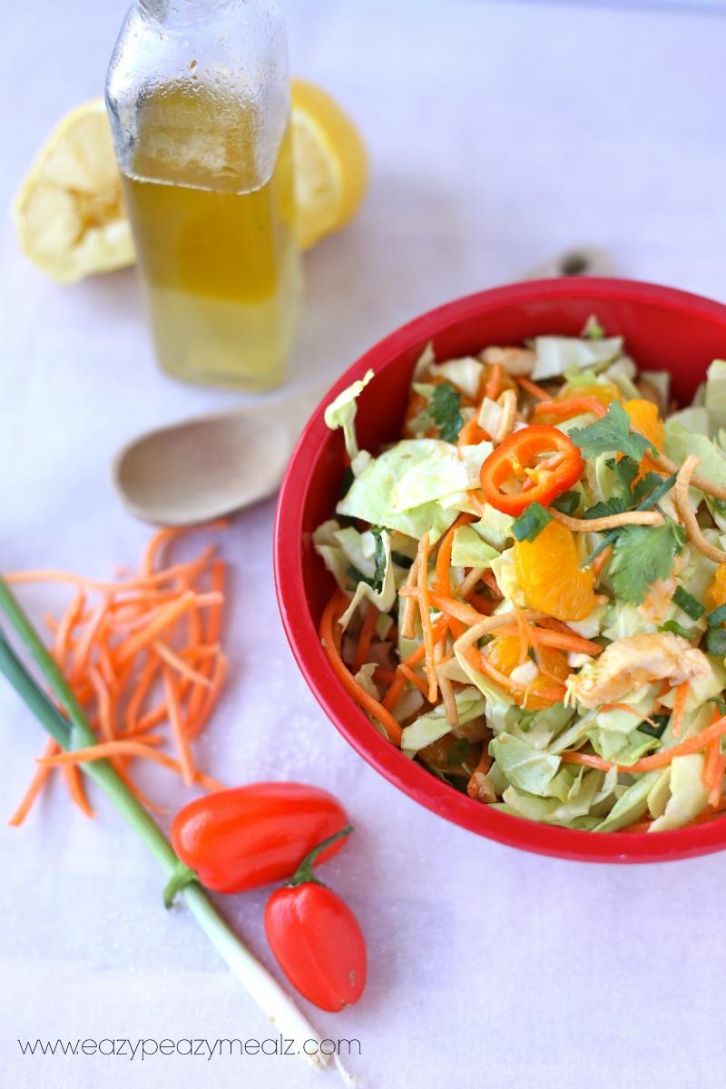 Healthy dinner salad recipe, an easy Chinese chicken salad, a lemon vinaigrette dressing