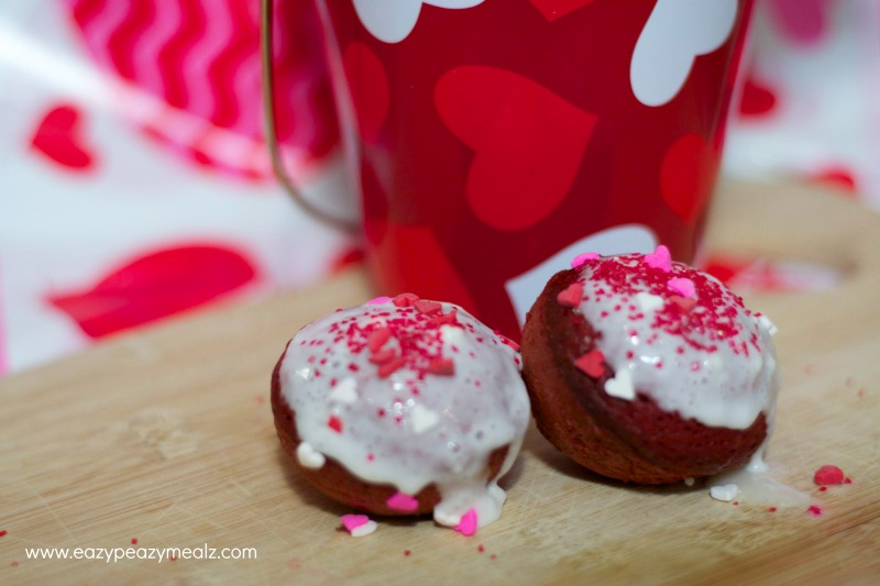 small red velvet donut holes