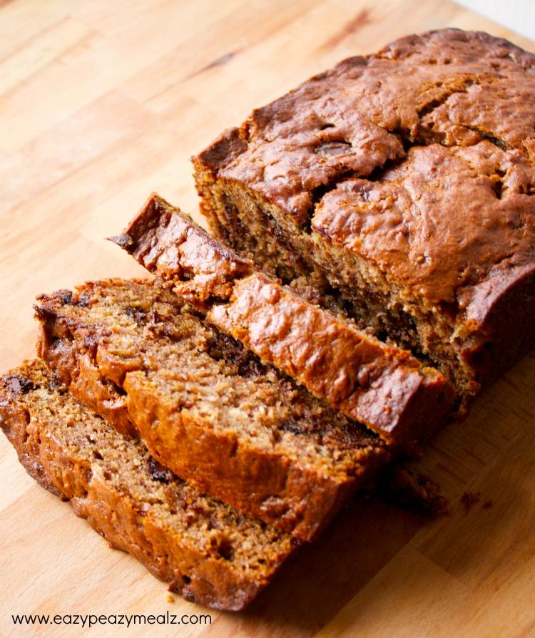 banana bread, bread, chocolate, toffee, easy banana bread