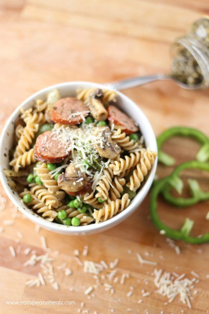 skillet pasta with pesto, sausage, mushroom
