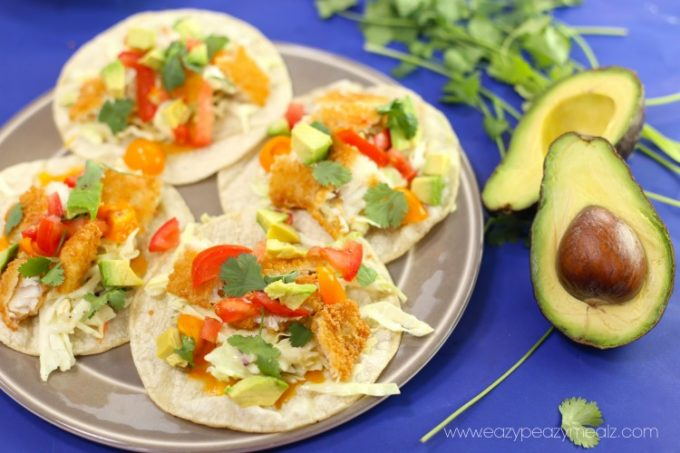 4 fish tacos with flounder
