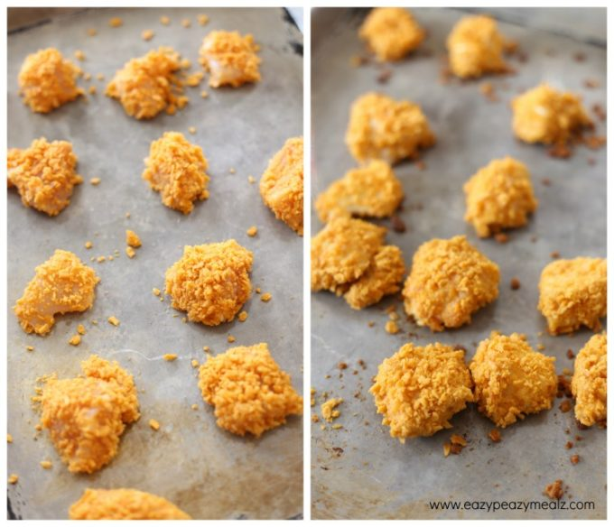 chicken bites uncooked to cooked, baked cheesy chicken bites, an easy chicken gameday appetizer