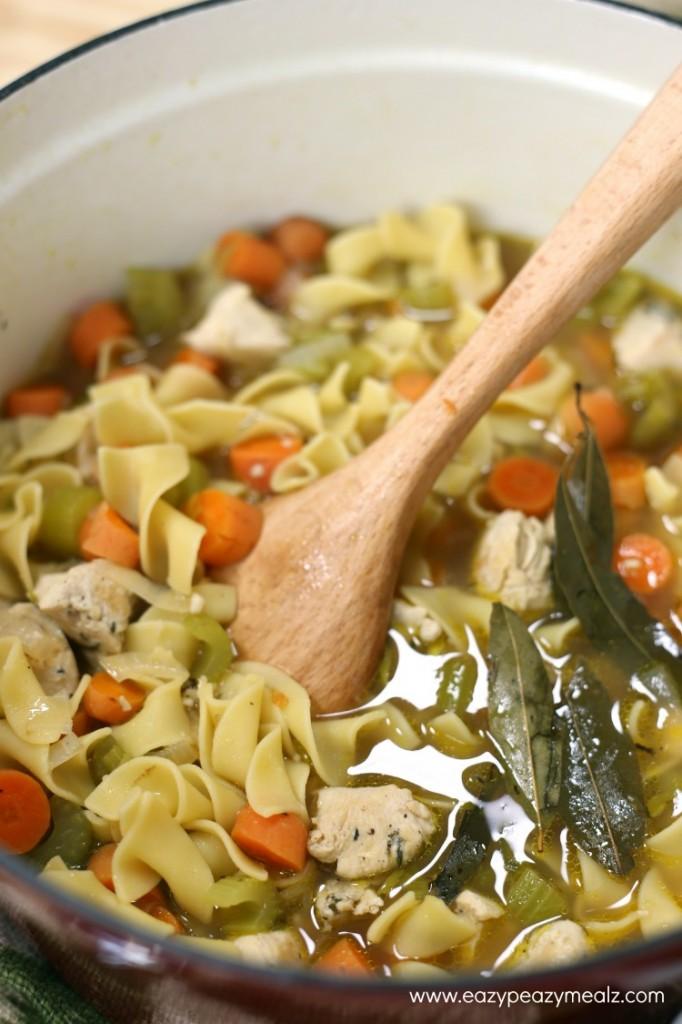 chicken noodle soup pot