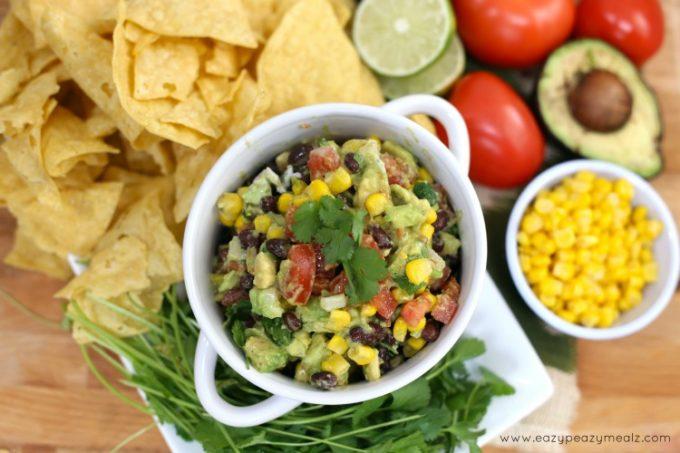 cowboy caviar, delicious gaucamole chip dip