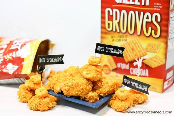 team chicken bites, a cheesy chicken game day appetizer, cheesy chicken bites