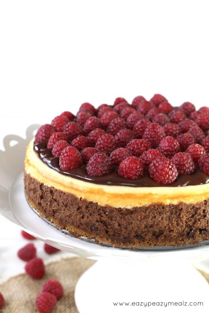 chocolate and cheesecake with raspberries