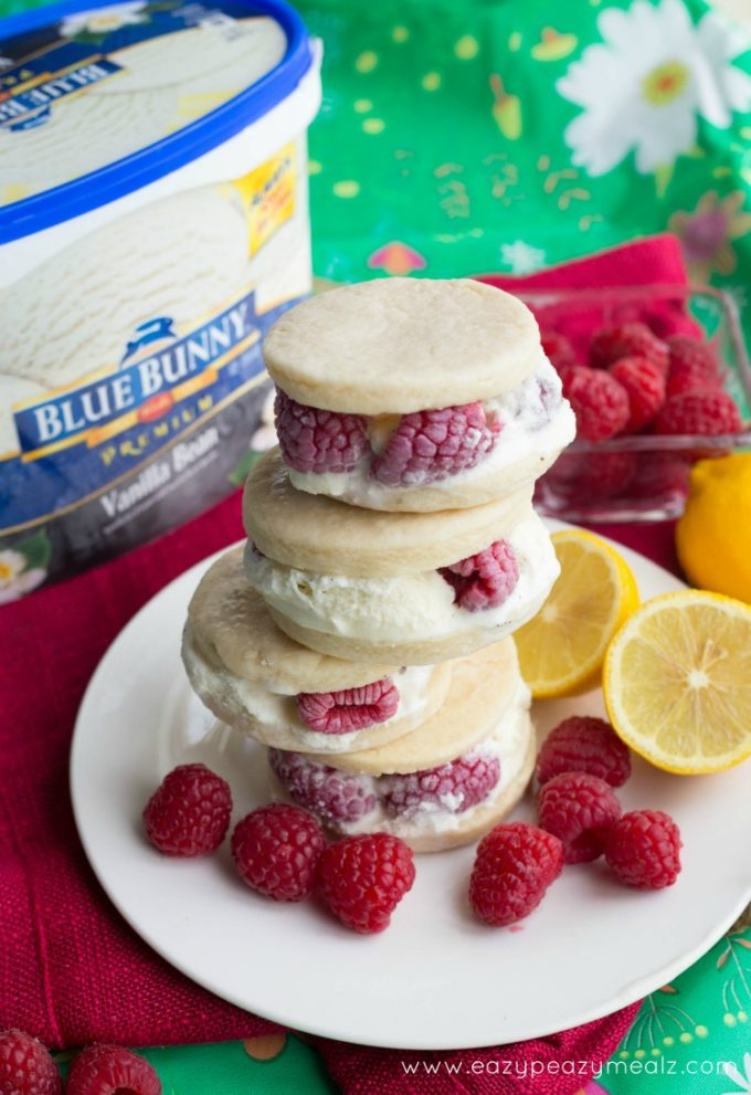 Lemon Raspberry Shortbread Ice Cream Cookie Sandwich