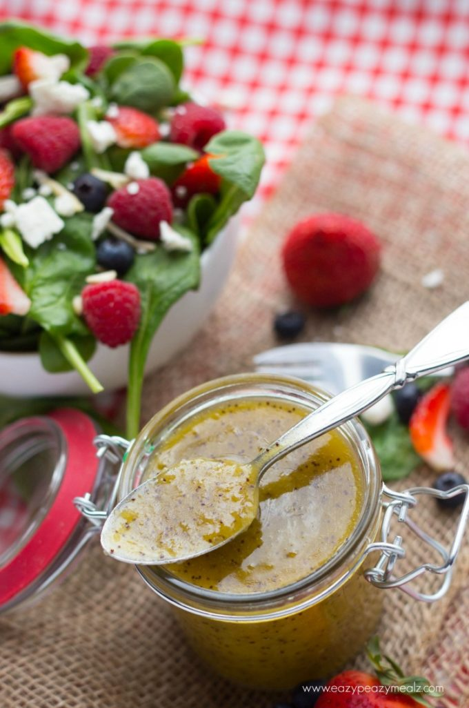 Poppy seed dressing, mustard poppyseed dressing with a summer spinach berry salad