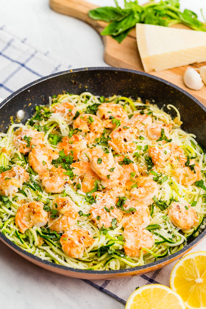 Delicious zucchini noodles with shrimp scampi