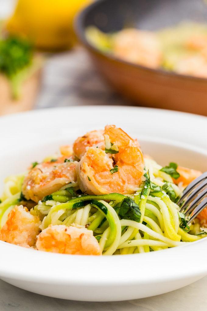 Zucchini Noodle Shrimp Scampi, perfect zucchini noodles or zoodles with delicious shrimp