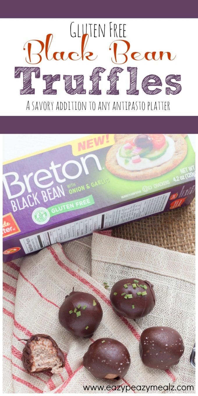 A savory black bean truffle that is gluten free