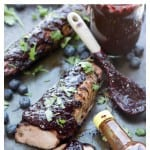 Pork tenderloin, glazed with a homemade blueberry Chipotle BBQ sauce and grilled to perfection