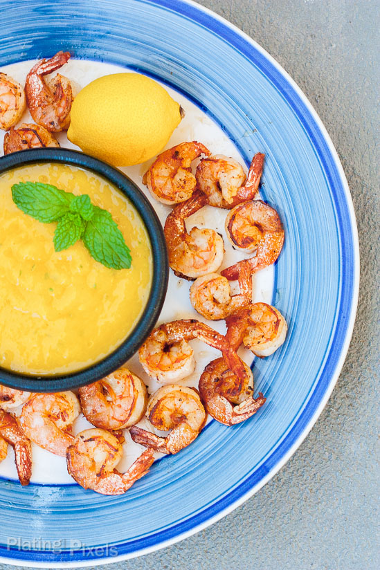 Blackened shrimp with mango dipping sauce