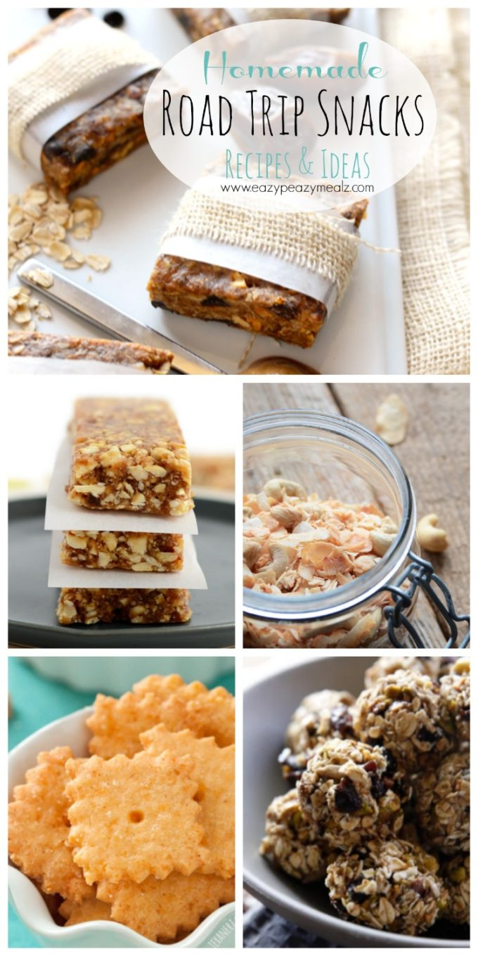 A collection of homemade snacks perfect for taking on a road trip