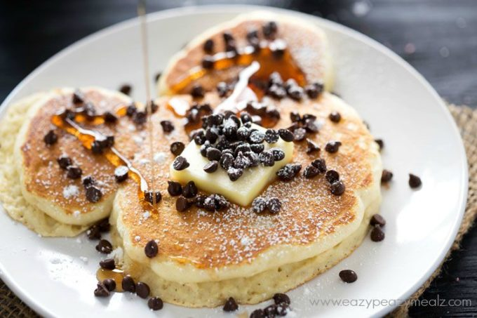 Light, fluffy, delicious buttery chocolate chip pancakes