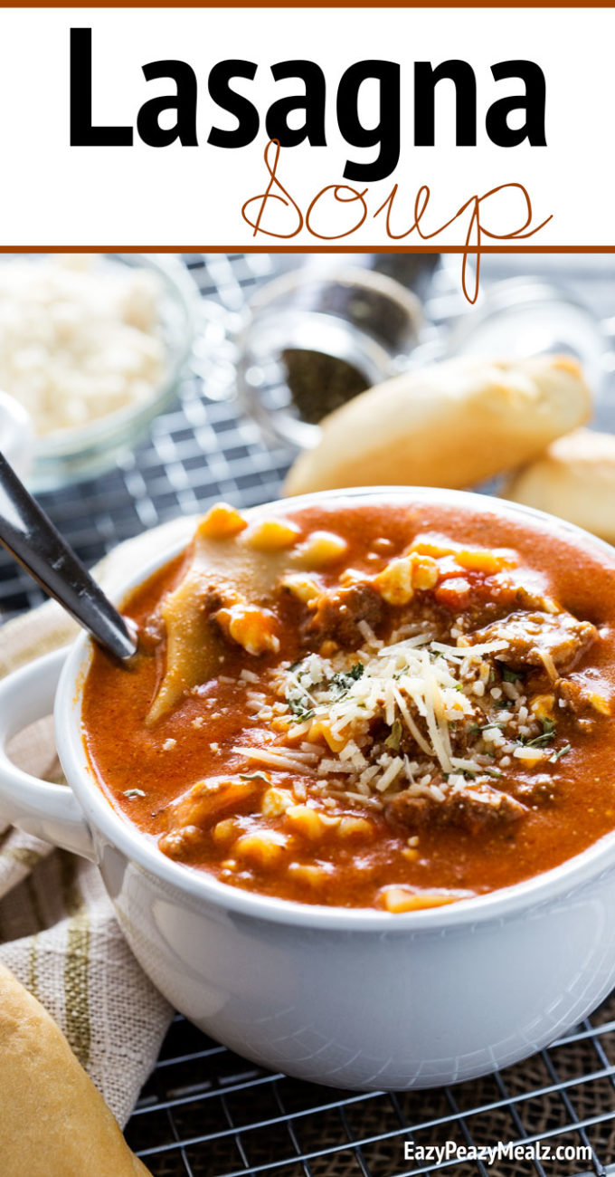 Lasagna soup is the ultimate comfort food. Noodles, cheese, and plenty of meaty goodness.