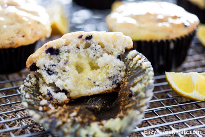Blueberry muffins with a sour cream lemon filling and sour cream lemon ...