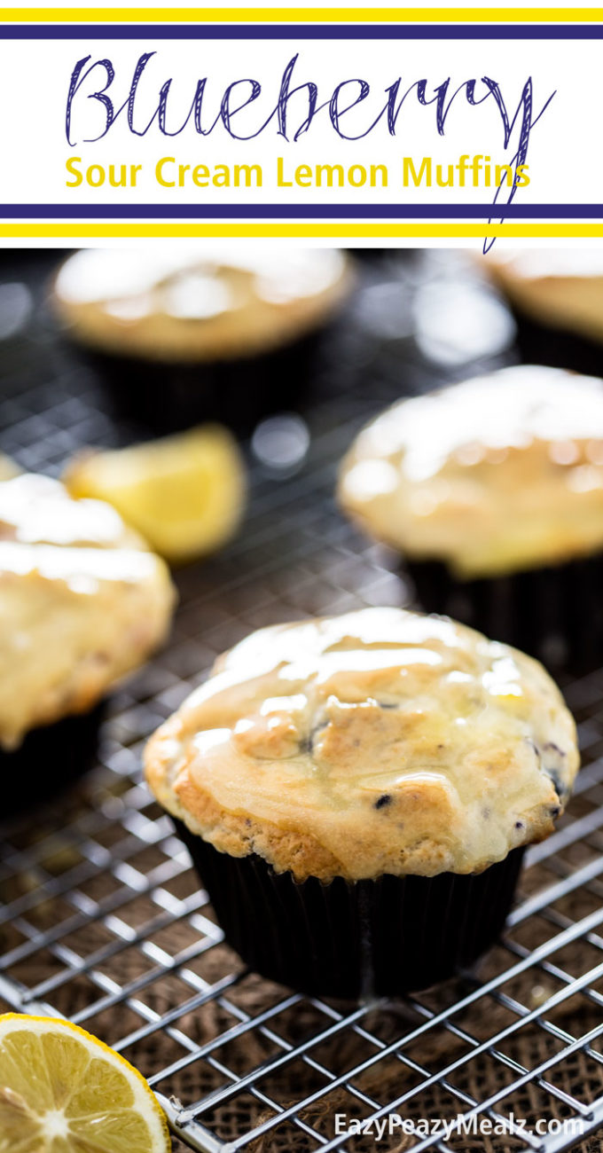 Blueberry Sour Cream Lemon Muffins. Blueberry muffins with a sour cream lemon filling and a sour cream lemon glaze. Perfection!