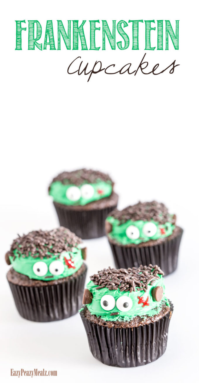 Super cute and easy Frankenstein cupcakes are the perfect treat for Halloween fun.