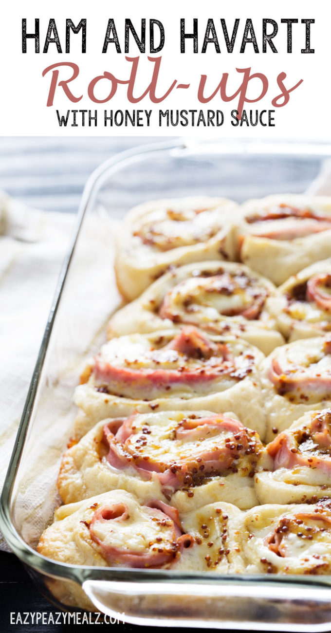 Ham and havarti roll up with a creamy honey mustard sauce.