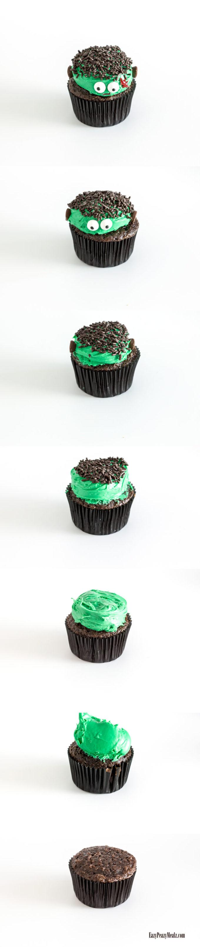 Assembling a Frankenstein cupcake