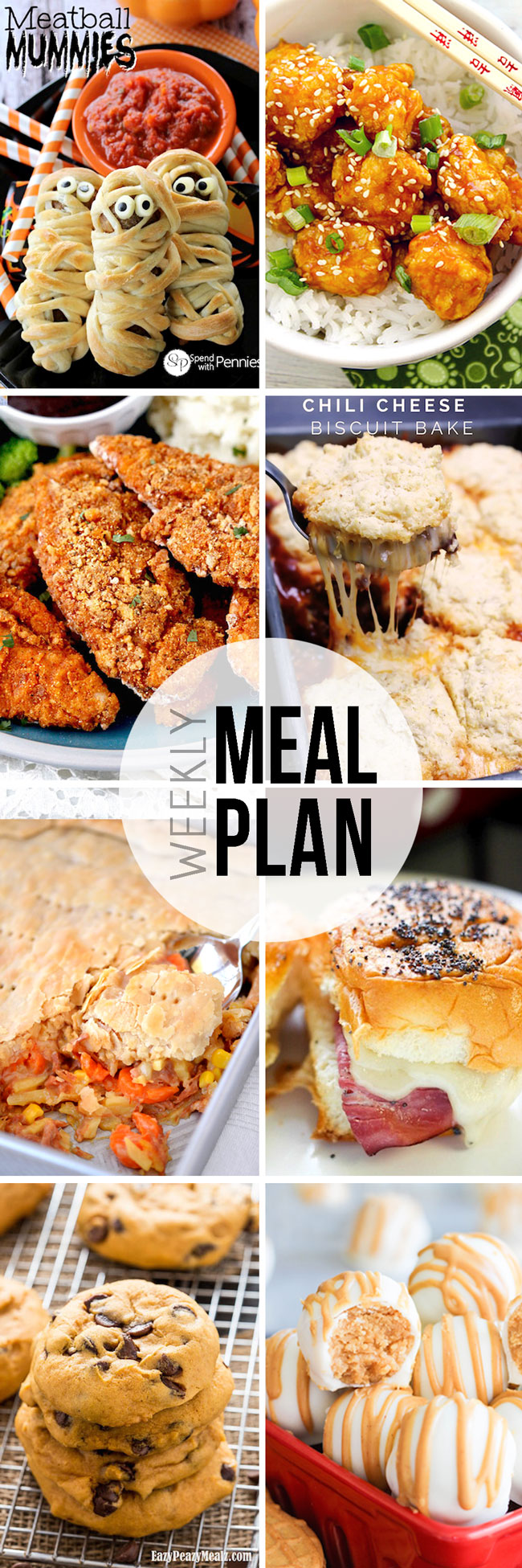 Take the thought and hassle out of meal planning with this compiled weekly meal plan, with 6 dinners, a Saturday morning breakfast idea, and desserts!