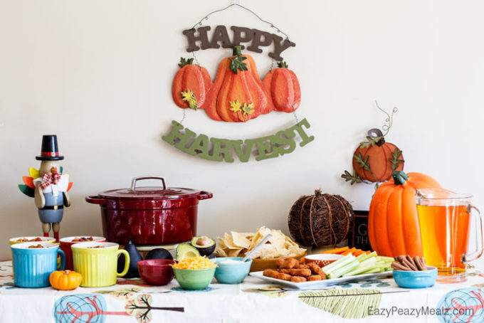 A fall themed party with delicious taco soup, buffalo chicken wing appetizers, and cider!