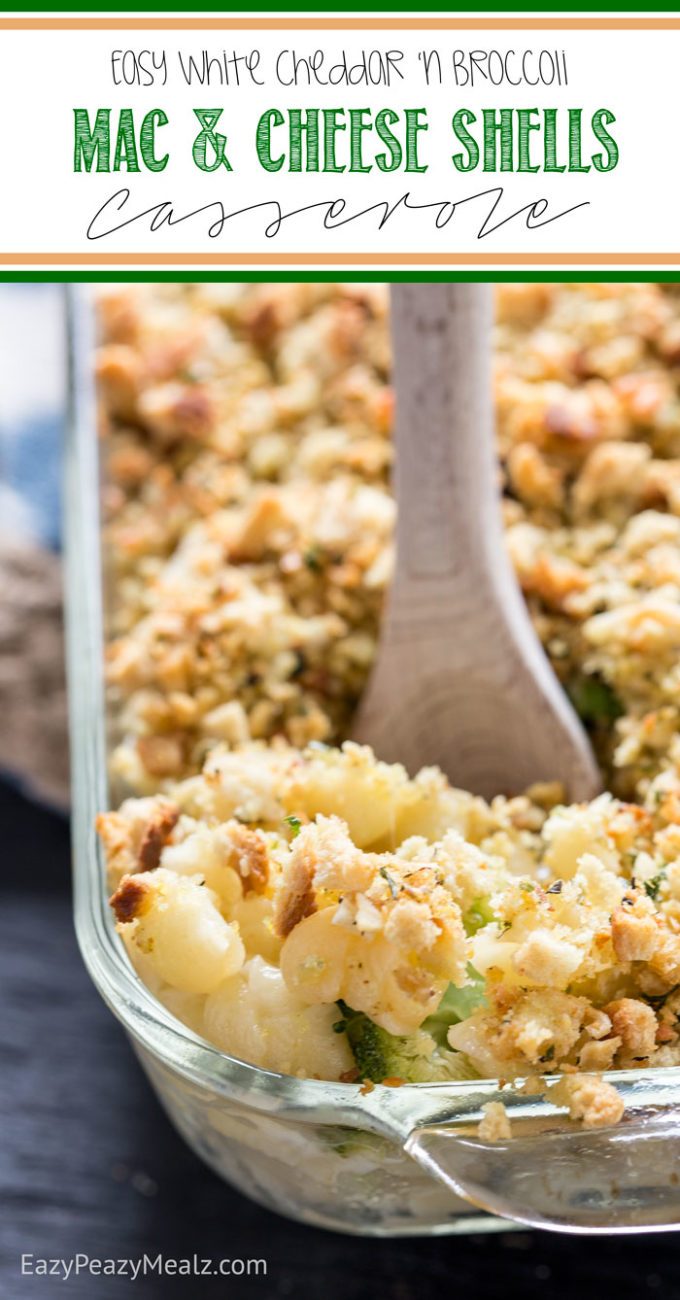 White cheddar and broccoli mac and cheese shells casserole, a quick family meal using smarter ingredients. So yummy!