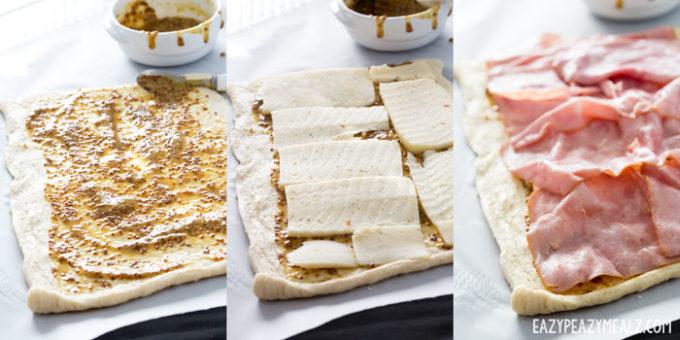 Cheesy, ham, and havarti mustard roll up