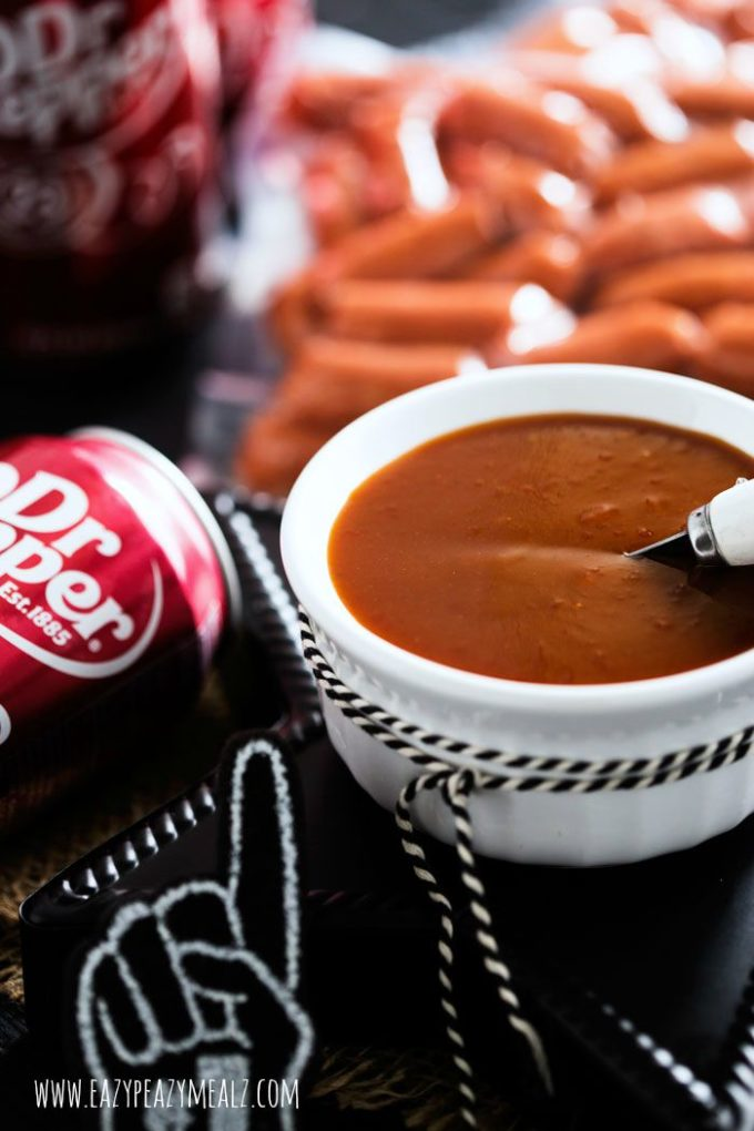 Dr Pepper BBQ Little Smokies, sweet sauce glazed little smokies, prepared in the slow cooker, and perfect for enjoying while watching your favorite college football team play!
