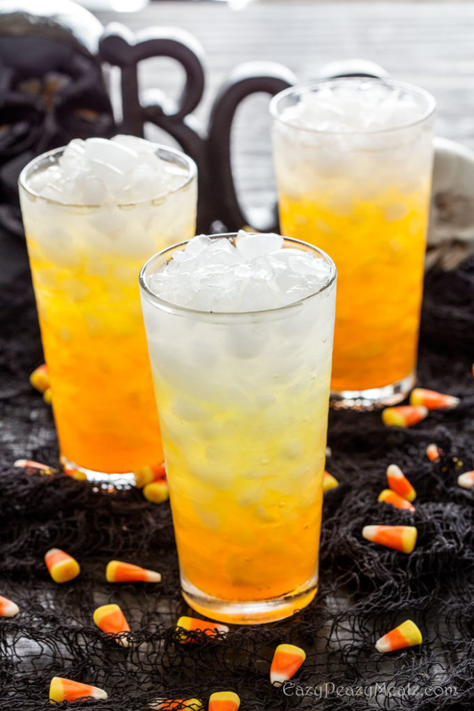 Layered candy corn punch is a festive drink perfect for Halloween