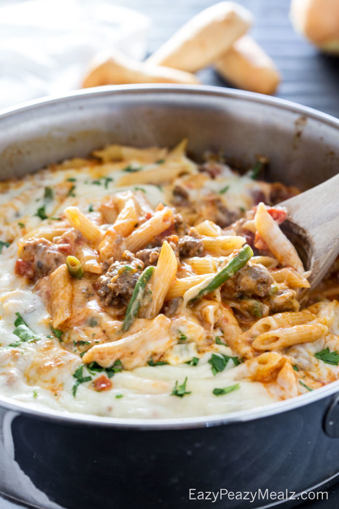 Penne skillet pasta full of flavor, and made in just one pot!