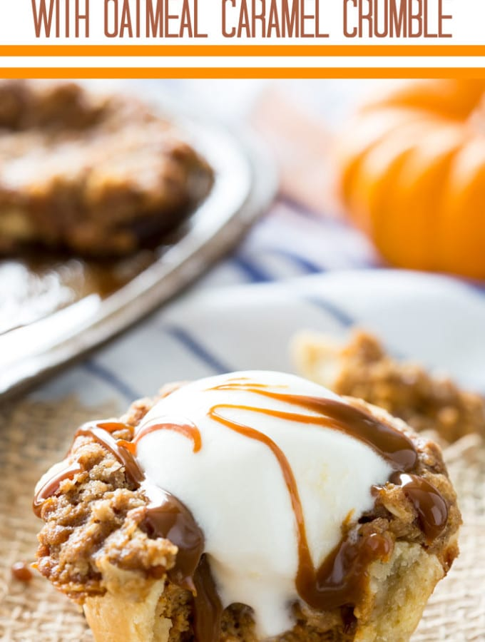 Muffin Tin Pumpkin Pie with Oatmeal Caramel Crumble
