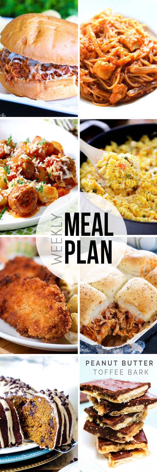 Take the guess work out of meal planning with this fantastic set of recipes, dinners, a breakfast, and 2 desserts to see you through the week.