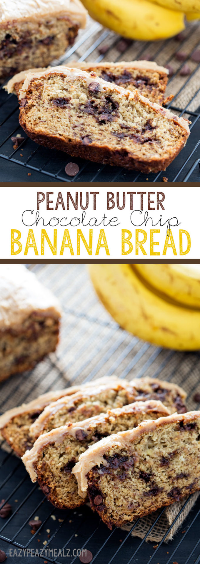 Peanut Butter Chocolate Chip Banana Bread - Eazy Peazy Mealz