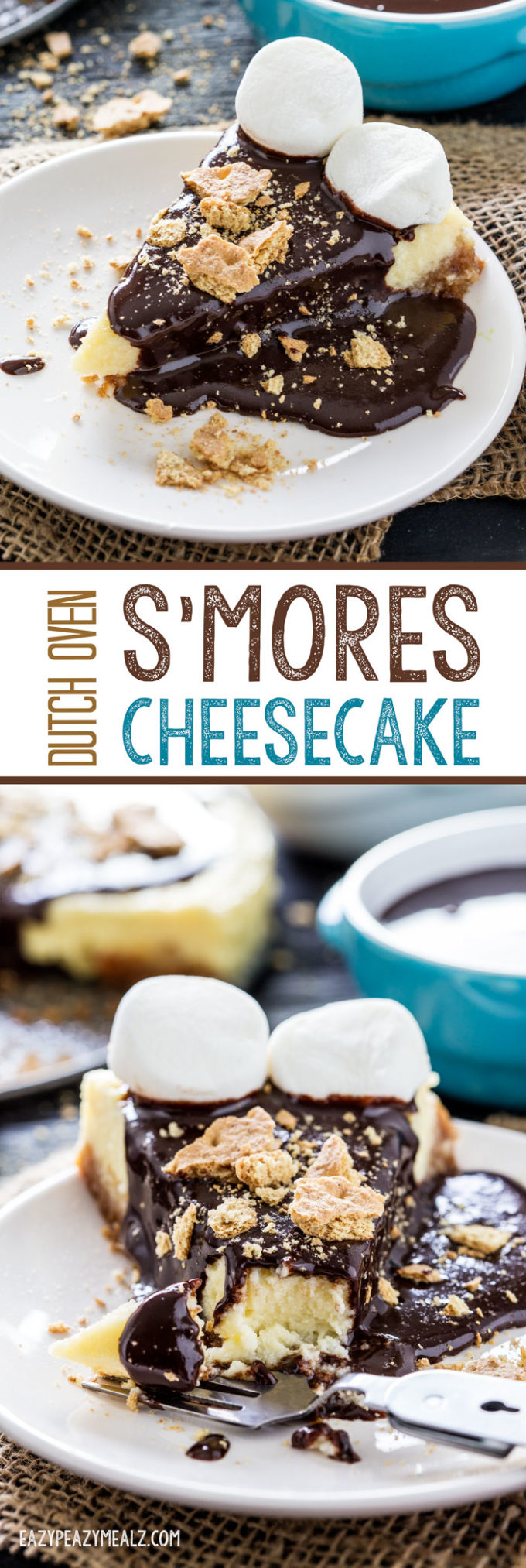Smore's cheesecake made in a dutch oven so you can cook it while camping! So much fun.