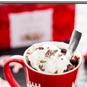 A holiday molten mug cake with peppermint and chocolate!