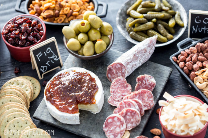 Fig and Nuts, salami and crackers.