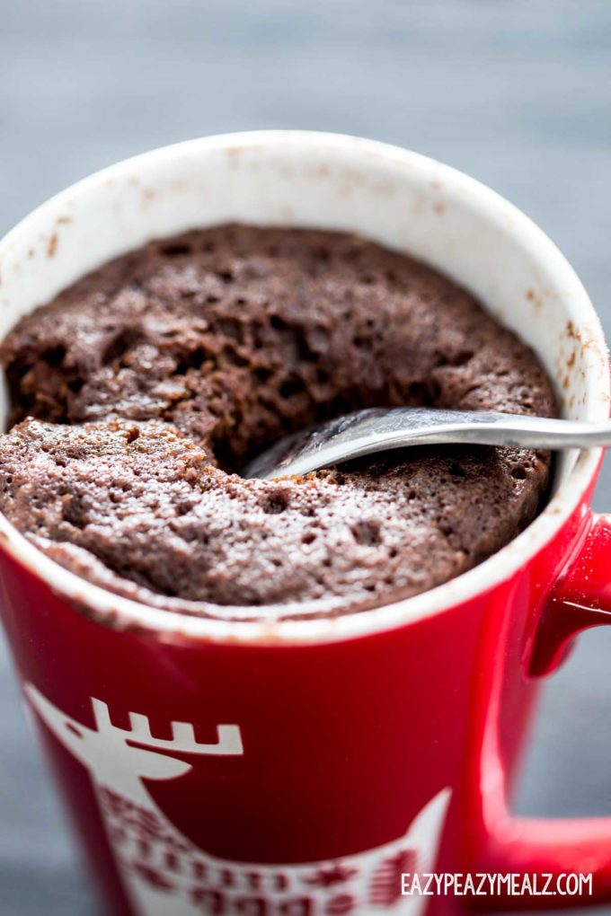 chocolate mug cake, a holiday dessert, an easy and delicious mug cake