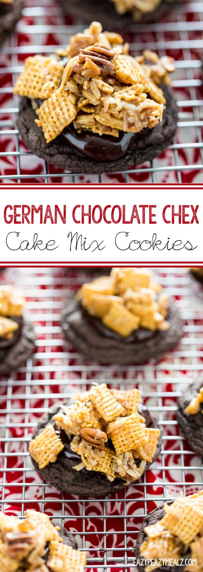 German Chocolate Chex Cake Mix Cookies - Eazy Peazy Mealz