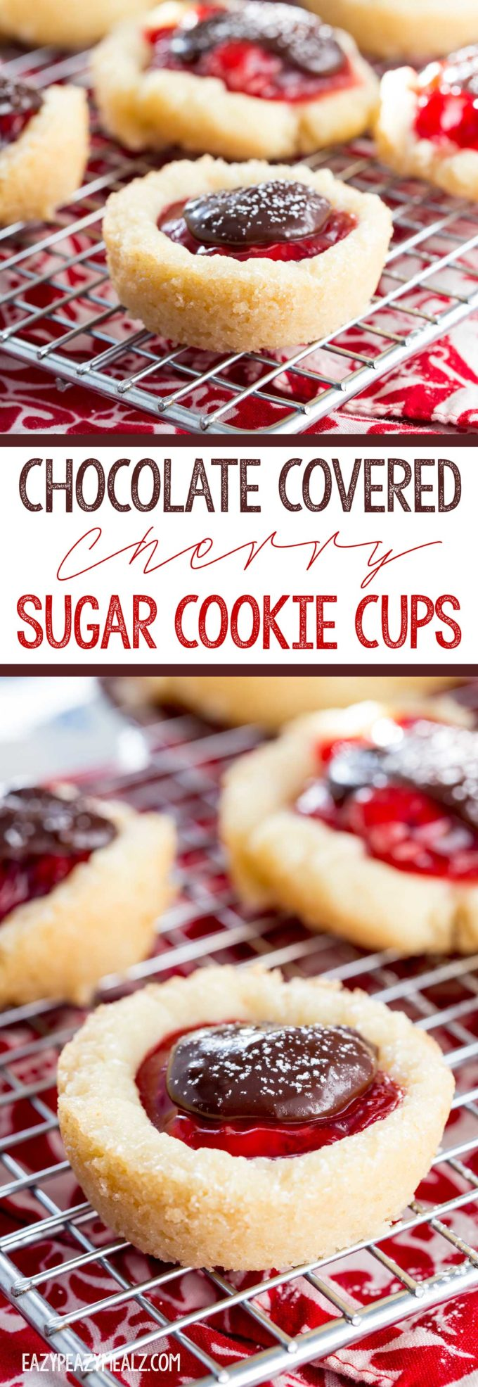 Chocolate Covered Cherry Sugar Cookie Cups are a great way to spread cheer during the hollidays, and are so easy to make.