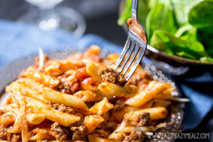 15 minute dinner, beef marinara penne, a simple pasta dinner