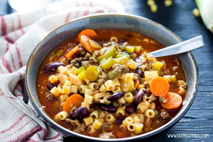 Pasta Fagioli Olive Garden: This hearty, flavorful soup made from Italian Sausage, veggies, marinara base, pasta and beans can be on the table in under 30 minutes.