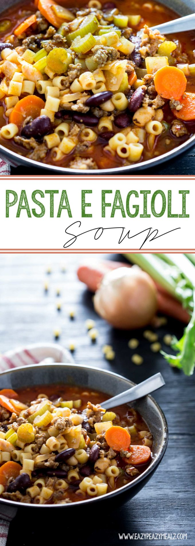 Pasta Fagioli Soup: This hearty, flavorful soup made from Italian Sausage, veggies, marinara base, pasta and beans can be on the table in under 30 minutes.